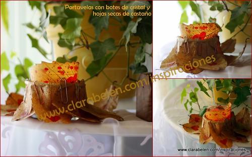 Manualides: portavelas para centro de mesa con botes de cristal reciclados  y hojas secas