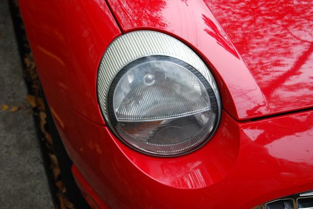 Ford Thunderbird, red, headlight, turn of the century