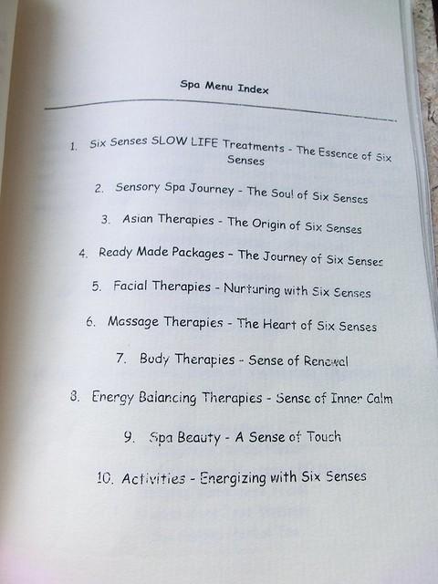 """Six Senses Spa """"treatment menu"""" 3"""