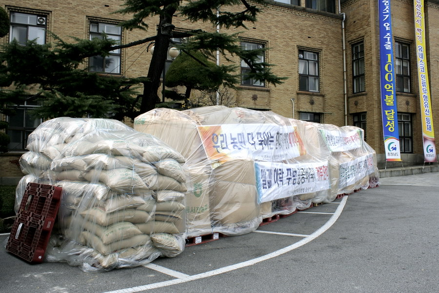 Rice sacks at the provincial government