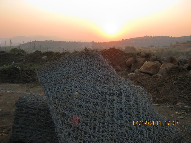 Sunset from the site of residential towers - Visit to Paranjape Schemes' Forest Trails, Bungalows, 2 BHK & 3 BHK Flats at Bhugaon, Pune 411 042