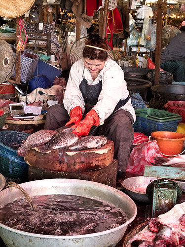 Fish seller at market