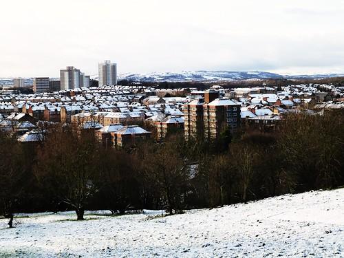 Snow covered Glasgow, Scotland