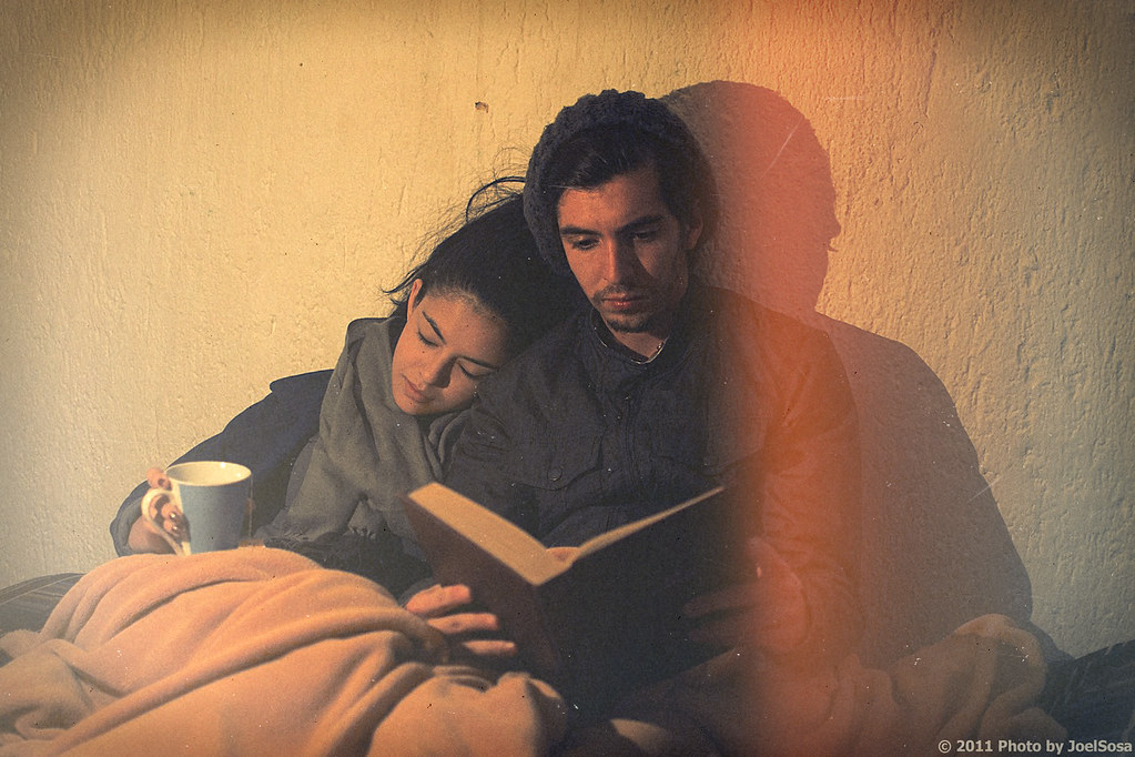 LE LOVE BLOG LOVE STORY LOVE PHOTO IMAGE COUPLE SITTING TOGETHER HEAD ON SHOULDER EYES CLOSED READING BEAR WITH ME Young Winter by Joel Sossa, on Flickr