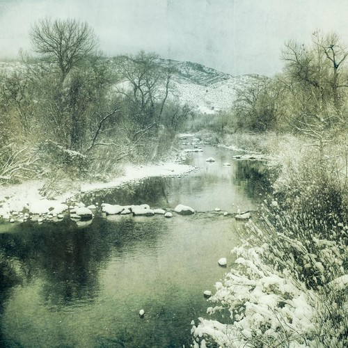 trees winter foothills snow reflection river square stream cloudy canyon brush textured waterton idream canont1i applesandsisters