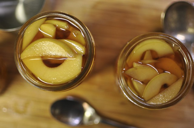 quince in chai syrup