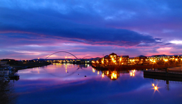 A winters sunrise at Stockton on Tees.