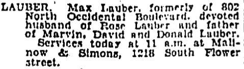 Max Lauber Obit Feb 26, 1929