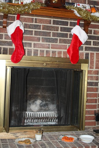 Stocking on the fireplace, and treats for Santa & his reindeer