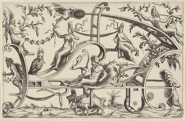 Wagen getrokken door twee fantasiedieren...1550
