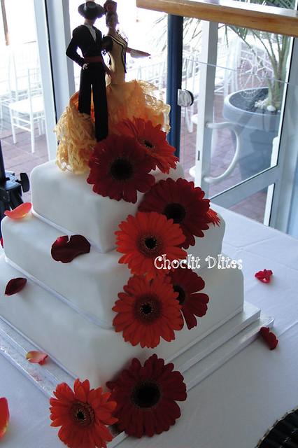 Spanish themed wedding 3 tier chocolate and ganache wedding cake