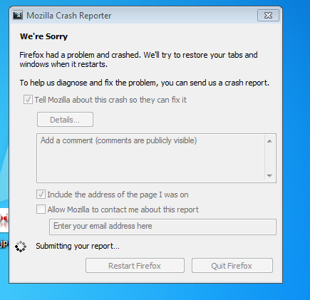 Firefox crash report