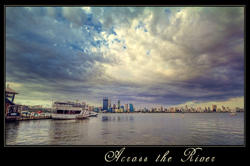 perth cbd businesscentreclouds water river boat pier skyscrapers clouds hdr australia