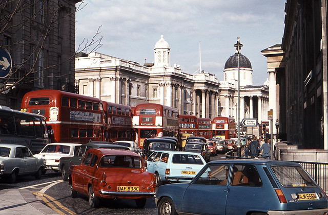 Trafalgar Square traffic jam, April 1976