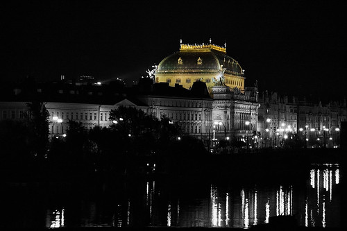 reflection architecture night prague czechrepublic lamps nationaltheatre balackandwhite vltavariver