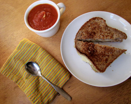 Tomato Soup with Grilled Cheese (plus pickle and hummus)