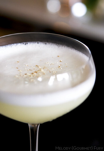 Hotel Georgia cocktail. Plymouth gin, orgeat, lemon, orange blossom, egg white (circa 1945)
