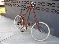 XL Pedersen bicycle in bronze with inlaid wood fenders at Flying Pigeon LA bike shop