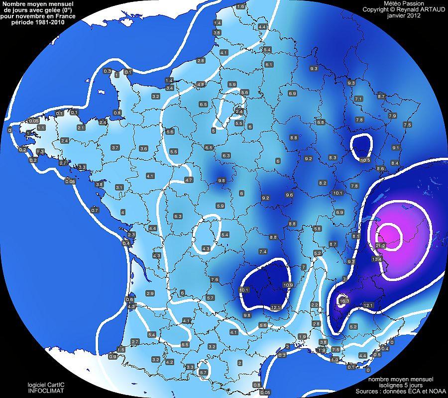nombre moyen mensuel de jours avec gelée 0° pour le mois de novembre en France sur la période 1981-2010