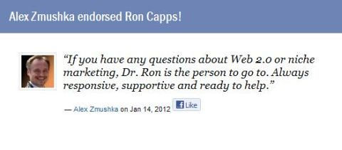 Alex Zmushka Endorses Dr. Ron Capps the Nicheprof