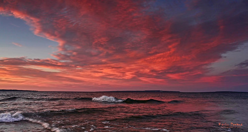sunset red sky lake water night clouds island michigan wave huron mackinac