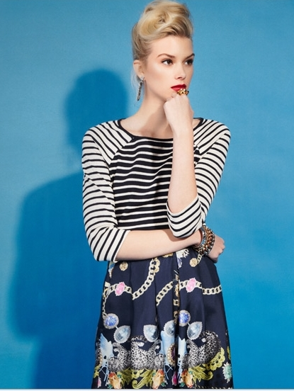 black and white striped top with patterned floral skirt