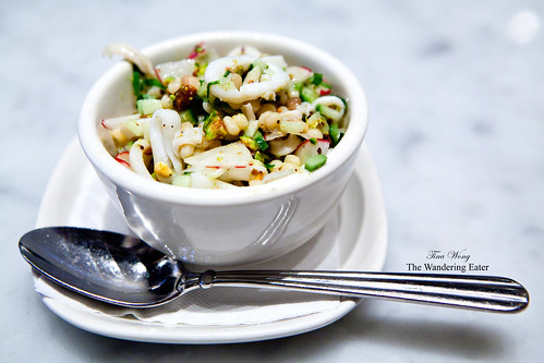 Calamari with Fregola, Radishes, Cucumbers & Pistachios