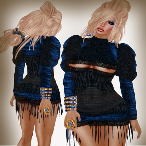 A&A Fashion Fara  Dress Blue