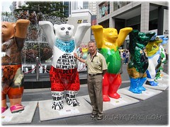John, posing with the 2m tall United Buddy Bears, outside Pavilion KL