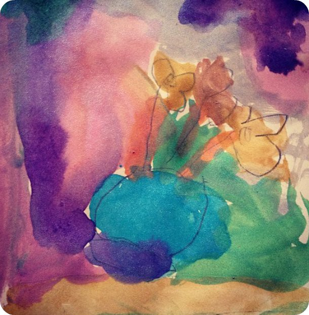 Watercolour by Sophie (4 years). It's a vase with flowers..
