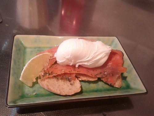 salmon on toast with poached egg. once an egg jockey always an egg jockey.