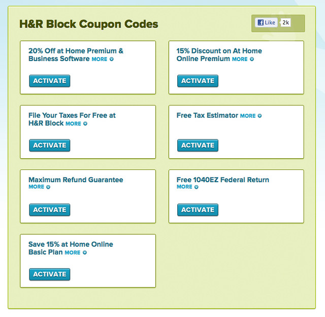 H and r block discount coupons