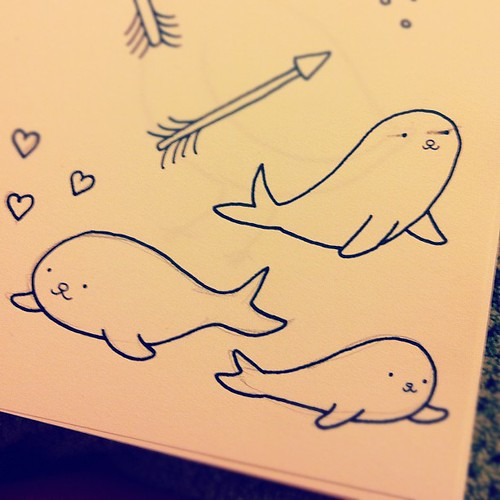 Baby seals art from my sketchbook.