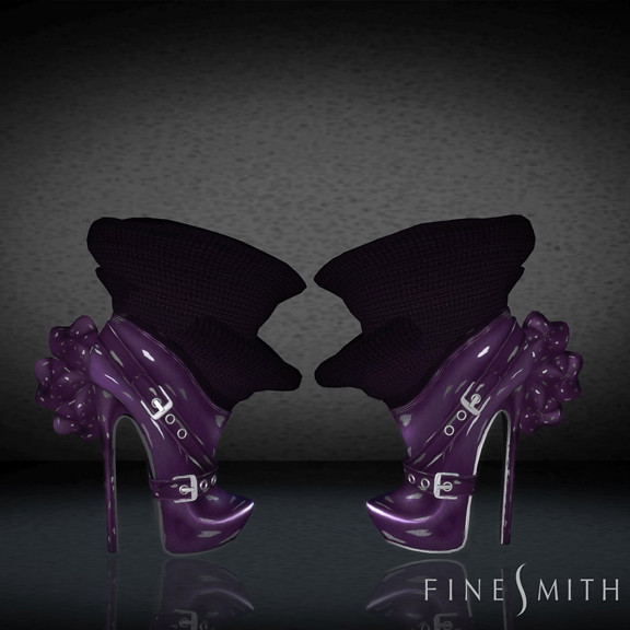 FINESMITH CANDYBIRD BOOTS purple with hearts
