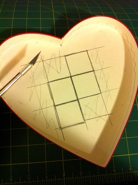 Sketch Tetris piece grids on inside of lids