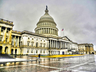 US Capitol on Winter Rainy Day  - East Entrance - Washington DC
