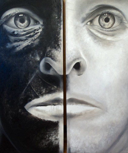 """L'etranger"",  diptych , oil on canvas,   Talbot Hopkins'  Painting for Artport 2012, Shreveport by trudeau"