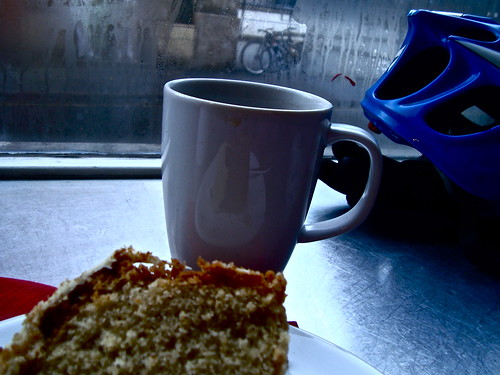 tea+cake+bike+snow=happy