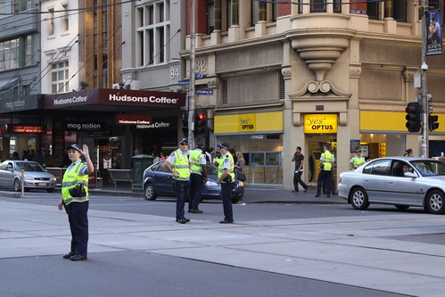 Victoria Police directing traffic in Melbourne
