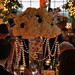 Tall Hydrangea Centerpiece with Orchids and Calla Lilies at Night