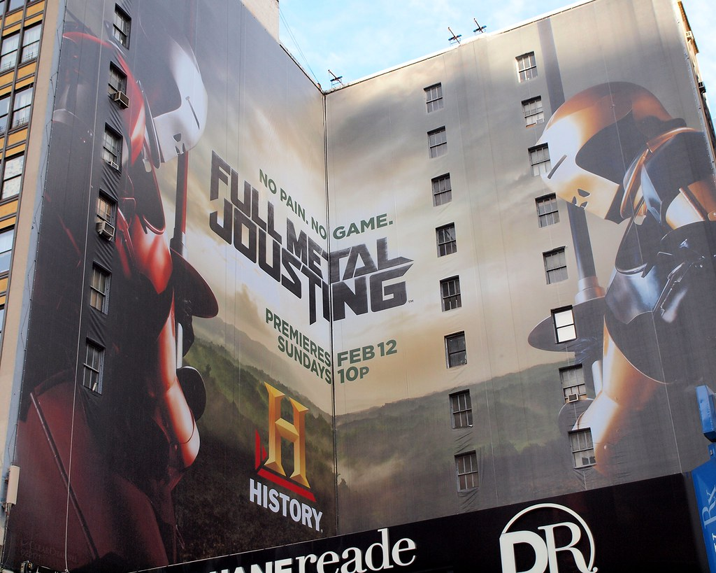 FULL METAL JOUSTING Building Billboard, Theatre District, New York City