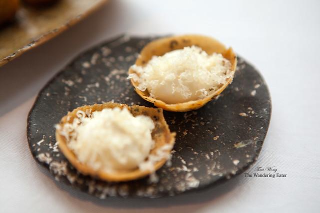 Cream cheese, shredded Parmesan, seaweed cracker