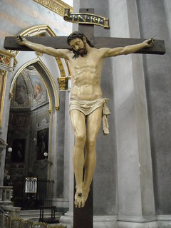 Crucified Christ - wooden and polychrome sculpture 16th century - Church of San Domenico Maggiore in Naples