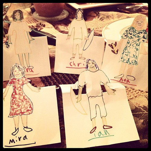 Family as place cards (Ada made with her aunt and uncle)