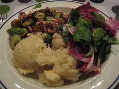 Parsnip-potato mash and Brussels sprouts with cumin and ginger