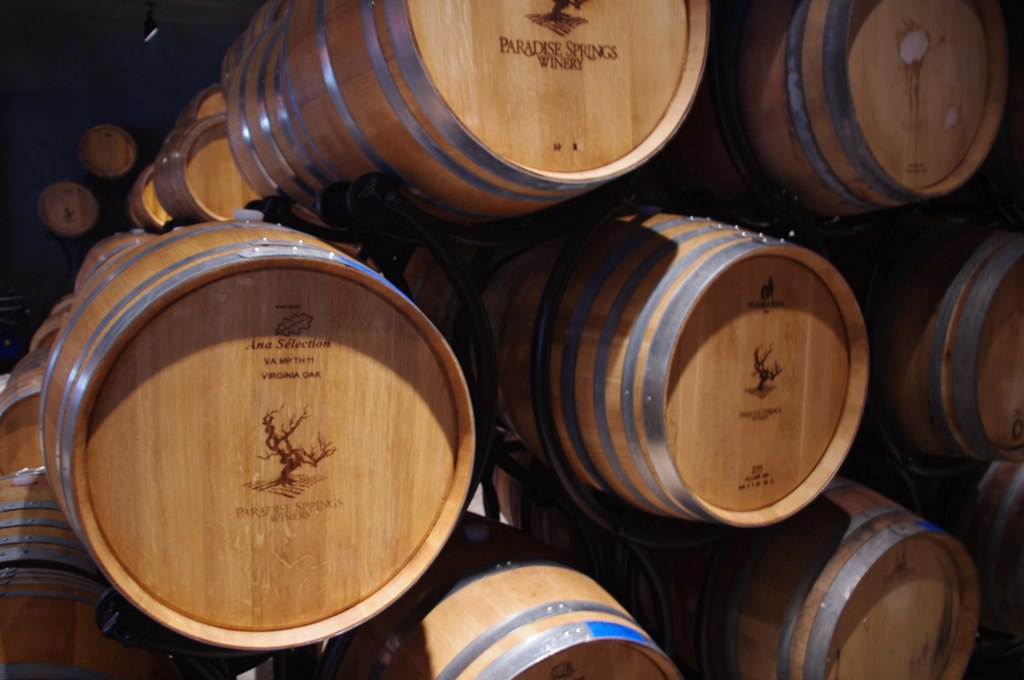 Virginia Oak Aging Barrels, Paradise Springs Winery