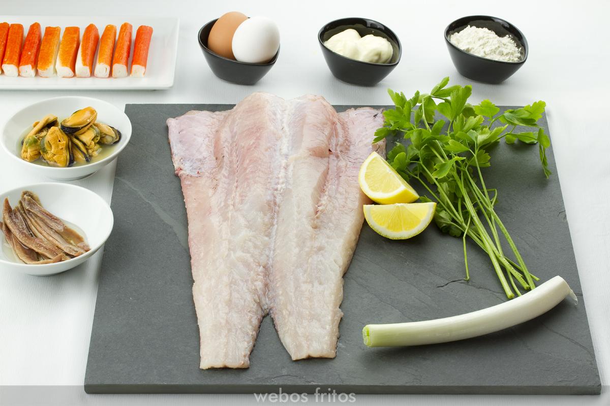 Ingredientes para la merluza rellena de txangurro
