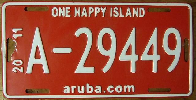 ARUBA 2011 ---LICENSE PLATE