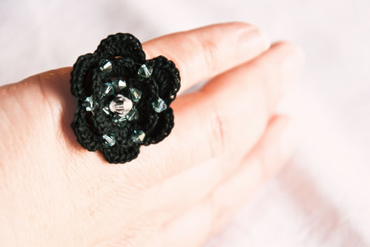 black crochet ring with swarovski crystals
