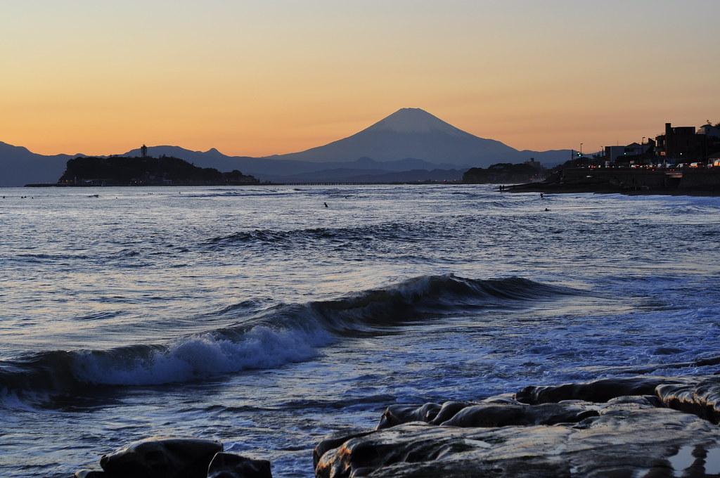 富士山&江ノ島 from 稲村ケ崎